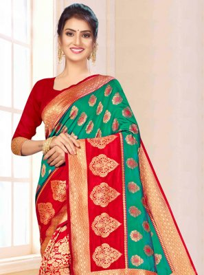 Green and Red Banarasi Silk Contemporary Saree