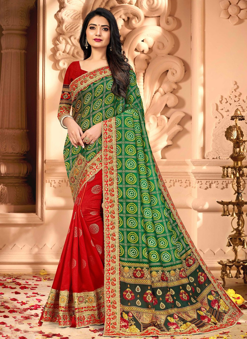 Green and Red Ceremonial Half N Half Designer Saree