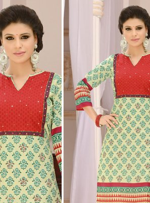 Green and Red Churidar Suit