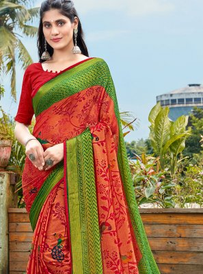 Green and Red Color Printed Saree