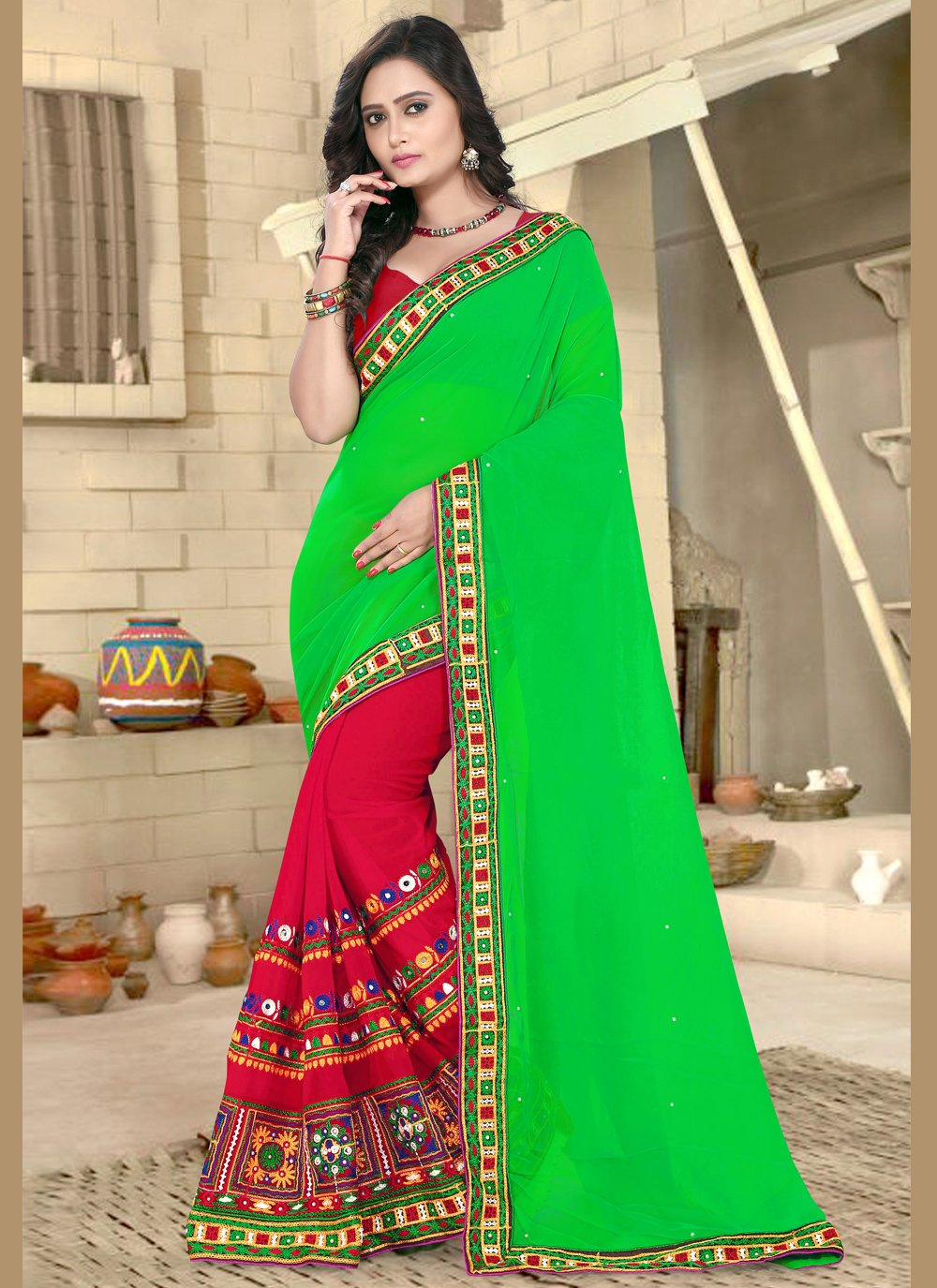 Green and Red Embroidered Faux Georgette Half N Half  Saree