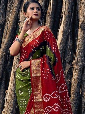 Green and Red Print Bandhani Saree