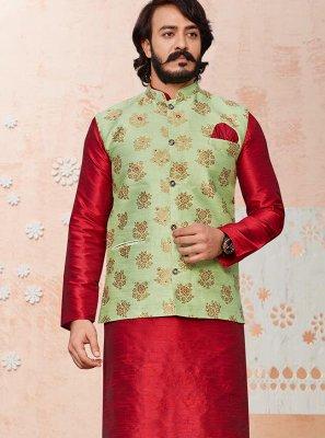 Green and Red Printed Jacquard Silk Kurta Payjama With Jacket