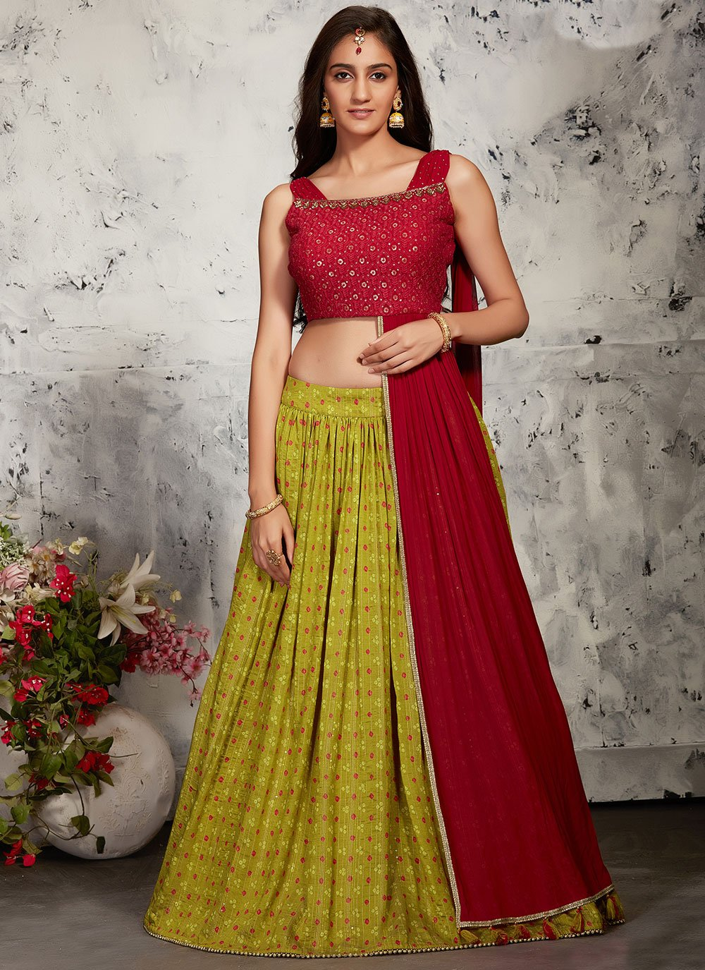 Green and Red Sangeet Readymade Lehenga Choli