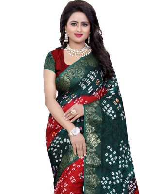 Green and Red Traditional Designer Saree