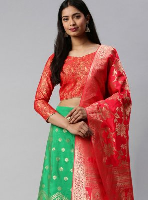 Green and Rose Pink Weaving Banarasi Silk Lehenga Choli