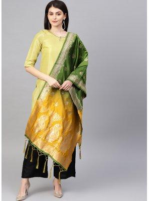 Green and Yellow Art Banarasi Silk Ceremonial Designer Dupatta