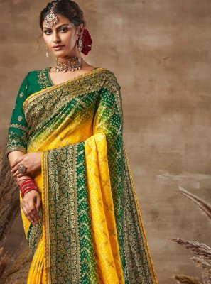 Green and Yellow Fancy Fabric Engagement Designer Traditional Saree