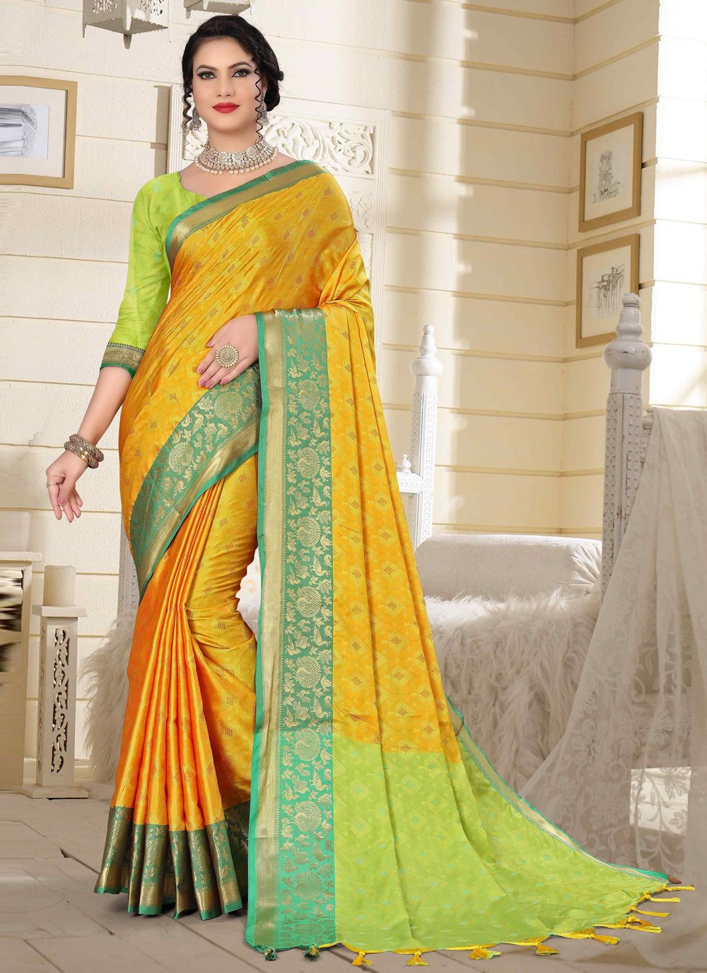 Green and Yellow Festival Traditional Designer Saree