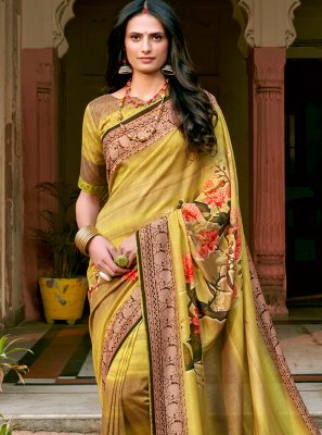 Green and Yellow Floral Print Chanderi Printed Saree