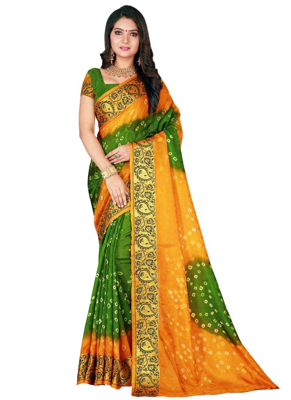 Green and Yellow Patch Border Art Silk Designer Traditional Saree