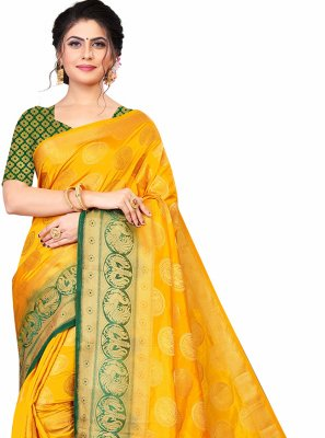 Green and Yellow Weaving Engagement Designer Traditional Saree
