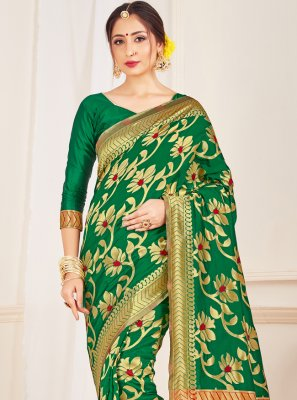 Green Art Banarasi Silk Traditional Designer Saree