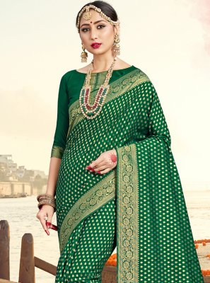 Green Art Banarasi Silk Traditional Saree