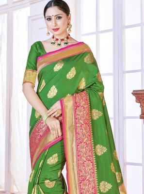 Green Art Banarasi Silk Woven Designer Traditional Saree