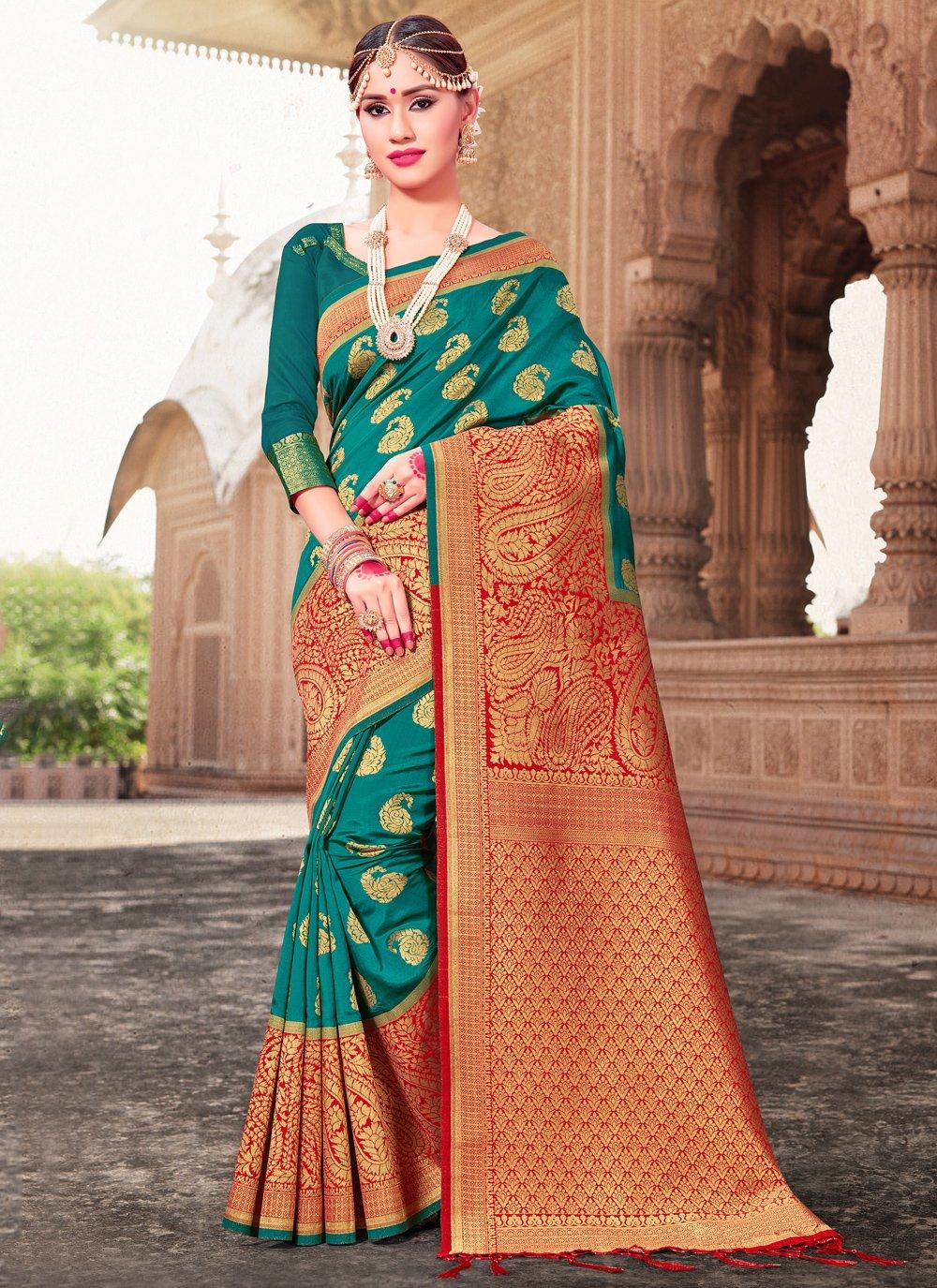 Green Art Banarasi Silk Woven Designer Traditional Saree
