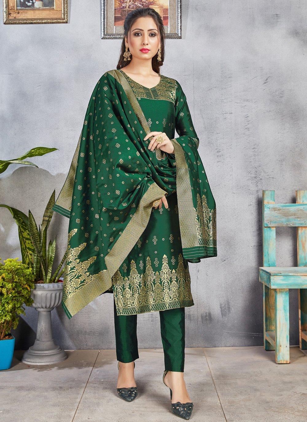 Green Art Banarasi Silk Woven Pant Style Suit