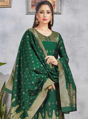 Green Art Banarasi Silk Woven Pant Style Suit