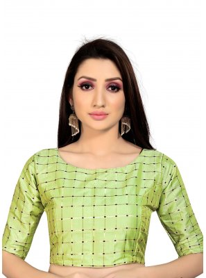 Green Art Silk Ceremonial Blouse