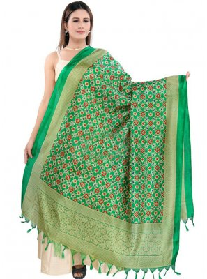 Green Art Silk Designer Dupatta