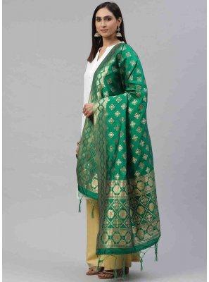 Green Art Silk Designer Dupatta