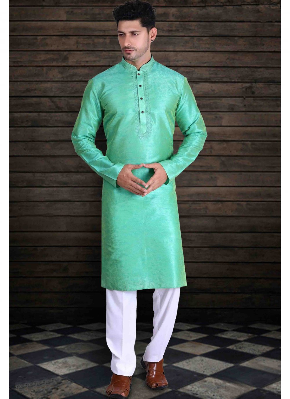 Green Art Silk Engagement Kurta Pyjama