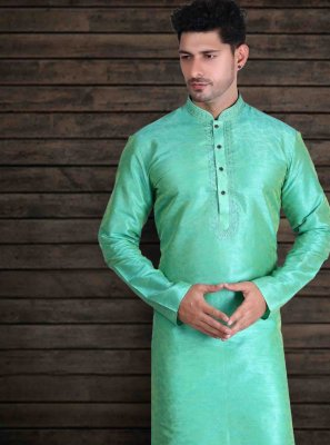 Green Art Silk Engagement Kurta Pyjama