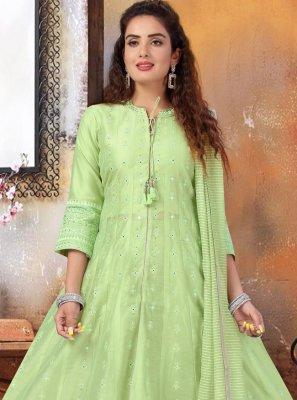 Green Art Silk Fancy Readymade Suit