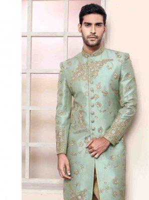 Green Art Silk Indo Western