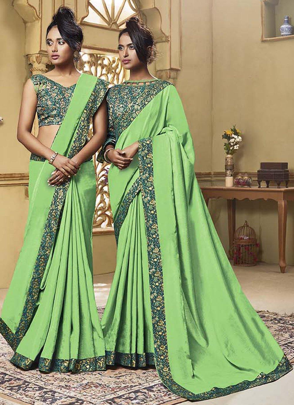 Green Art Silk Patch Border Classic Saree