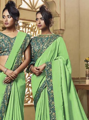 Green Art Silk Patch Border Classic Saree