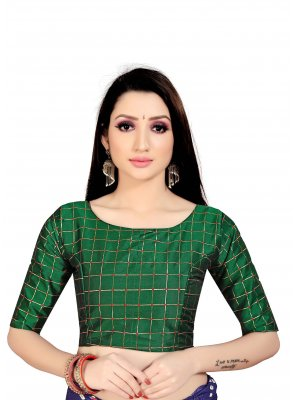Green Art Silk Printed Blouse