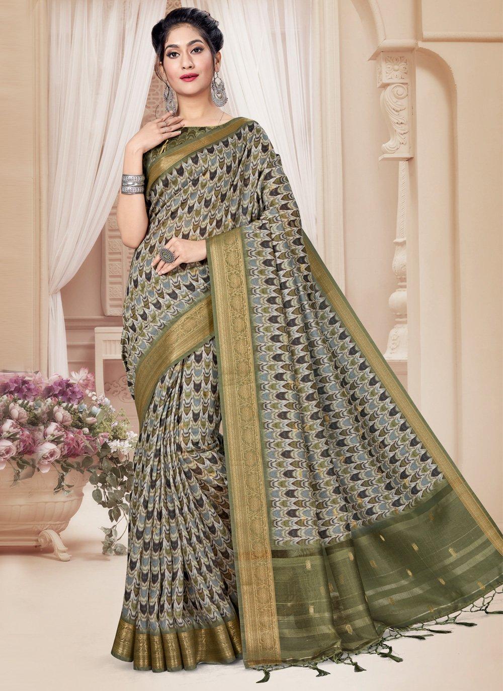 Green Art Silk Printed Saree