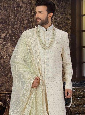 Green Art Silk Sherwani