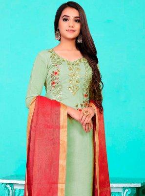 Green Banarasi Jacquard Fancy Pant Style Suit