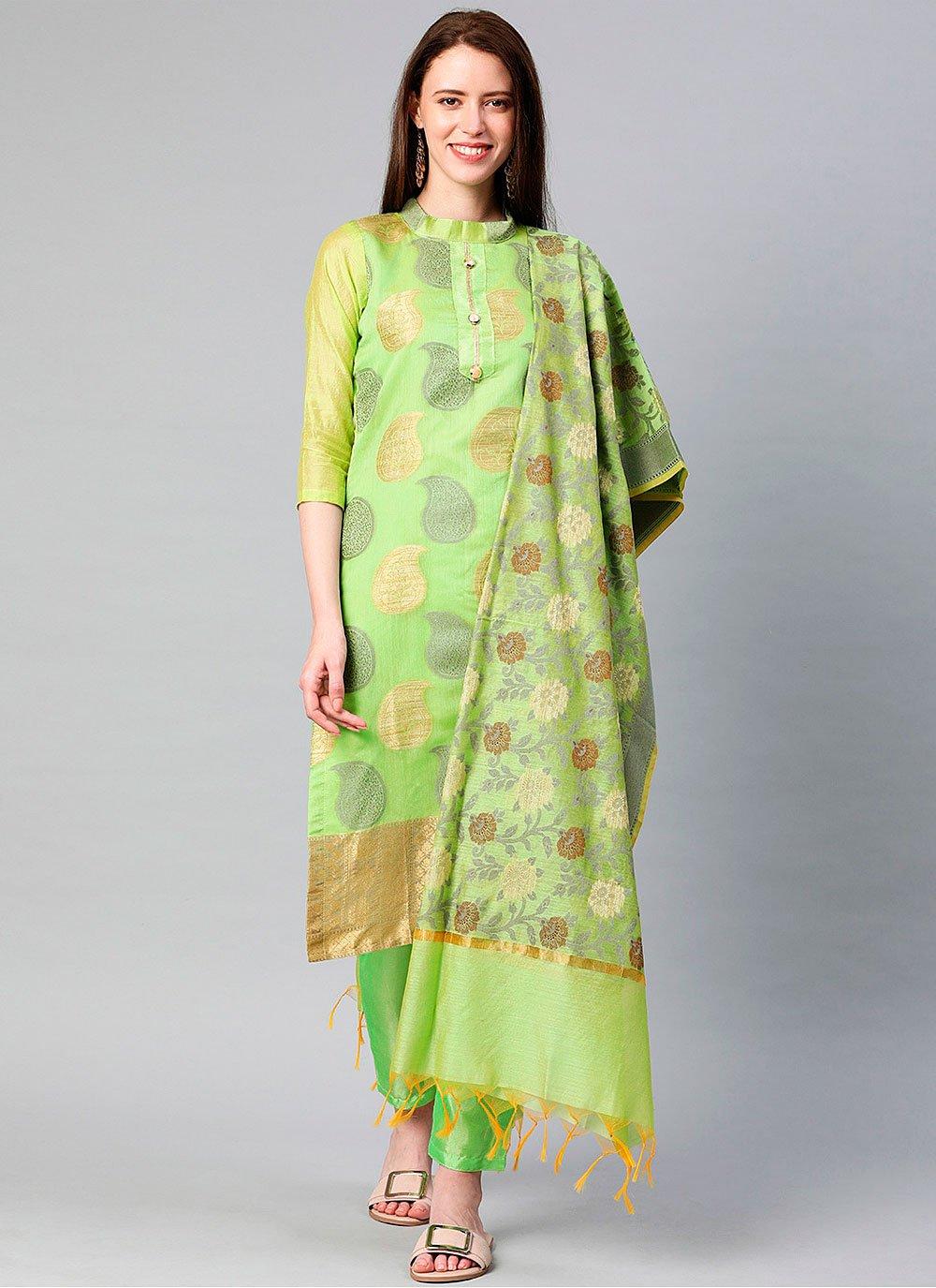 Green Banarasi Silk Designer Suit