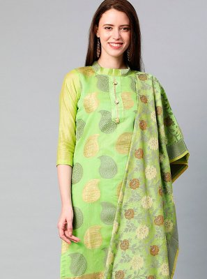 Green Banarasi Silk Designer Suit