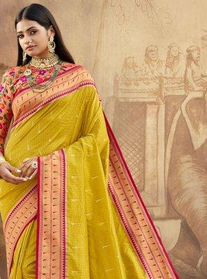 Green Banarasi Silk Engagement Bollywood Saree