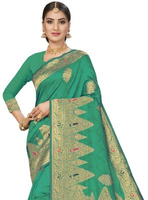 Green Banarasi Silk Weaving Traditional Designer Saree