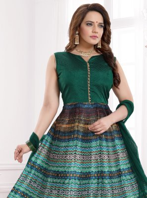 Green Banglori Silk Print Readymade Gown