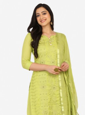 Green Blended Cotton Designer Palazzo Suit
