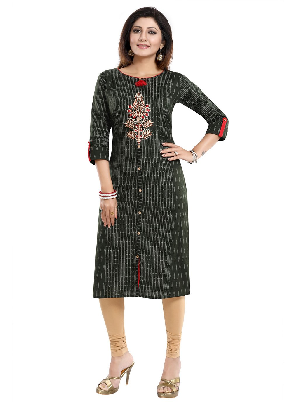 Green Blended Cotton Party Wear Kurti