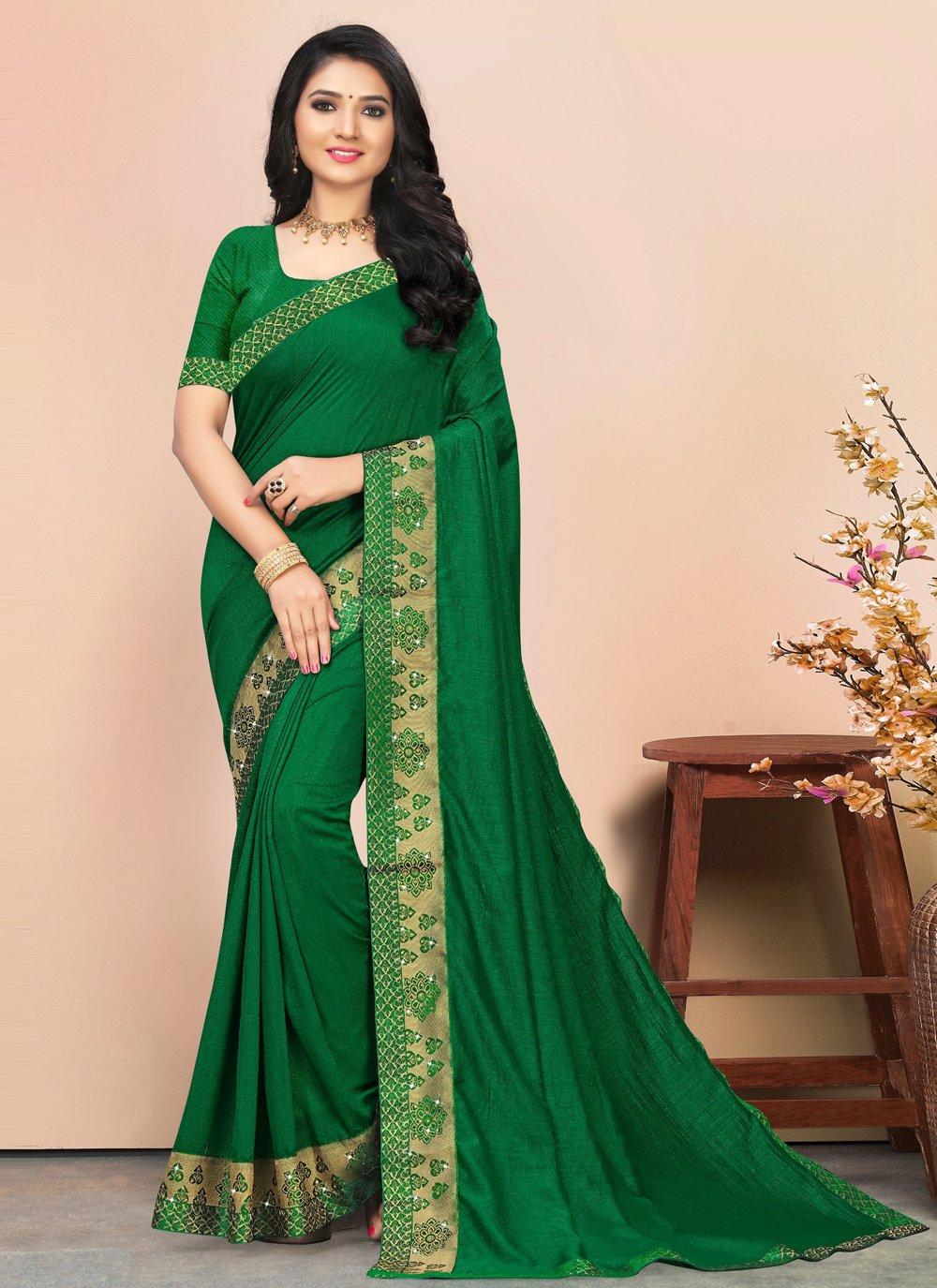 Green Casual Classic Saree