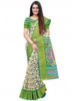 Green Casual Cotton Printed Saree