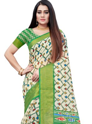 Green Casual Cotton Printed Saree