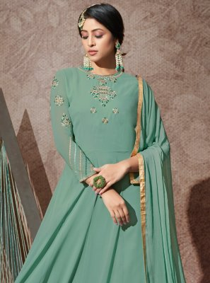 Green Ceremonial Anarkali Salwar Kameez