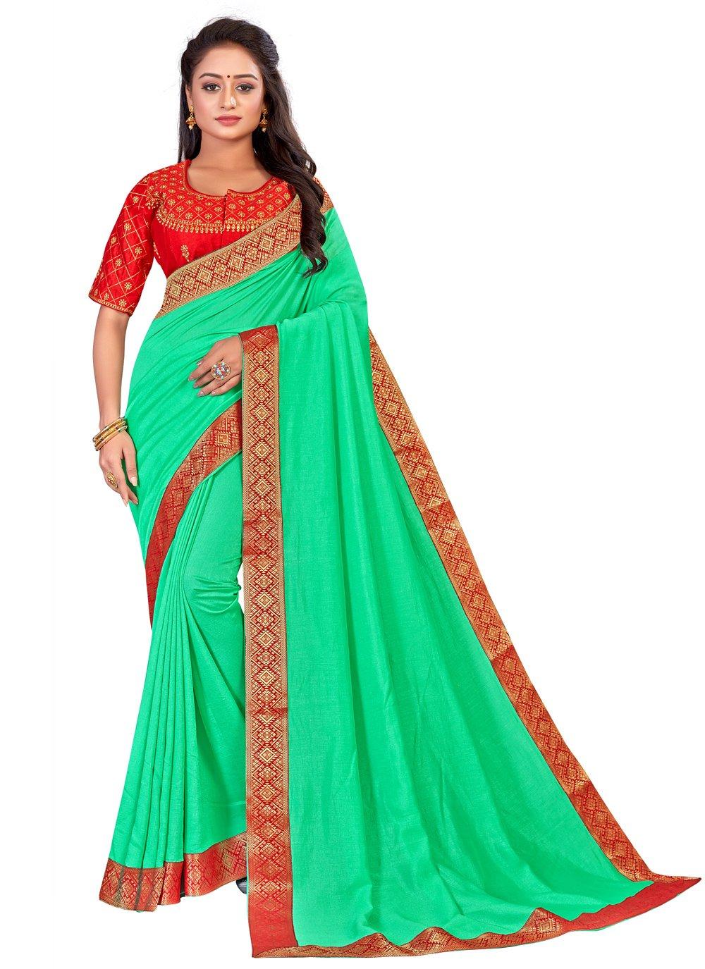 Green Ceremonial Art Silk Traditional Saree
