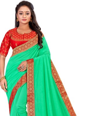 Green Ceremonial Art Silk Traditional Saree