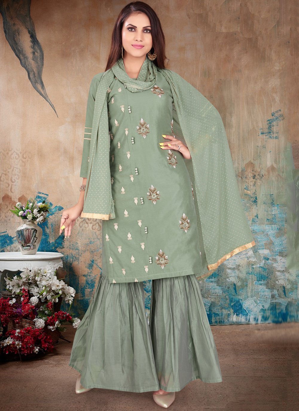 Green Ceremonial Chanderi Readymade Suit