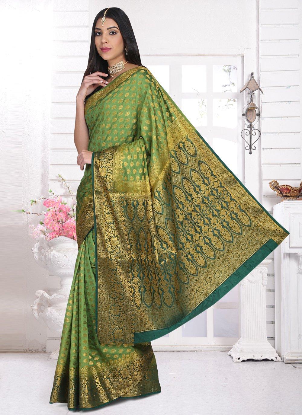 Green Ceremonial Cotton Silk Designer Saree